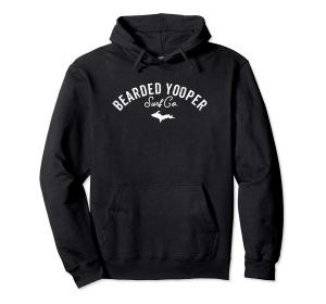 bearded yooper words only black hoodie