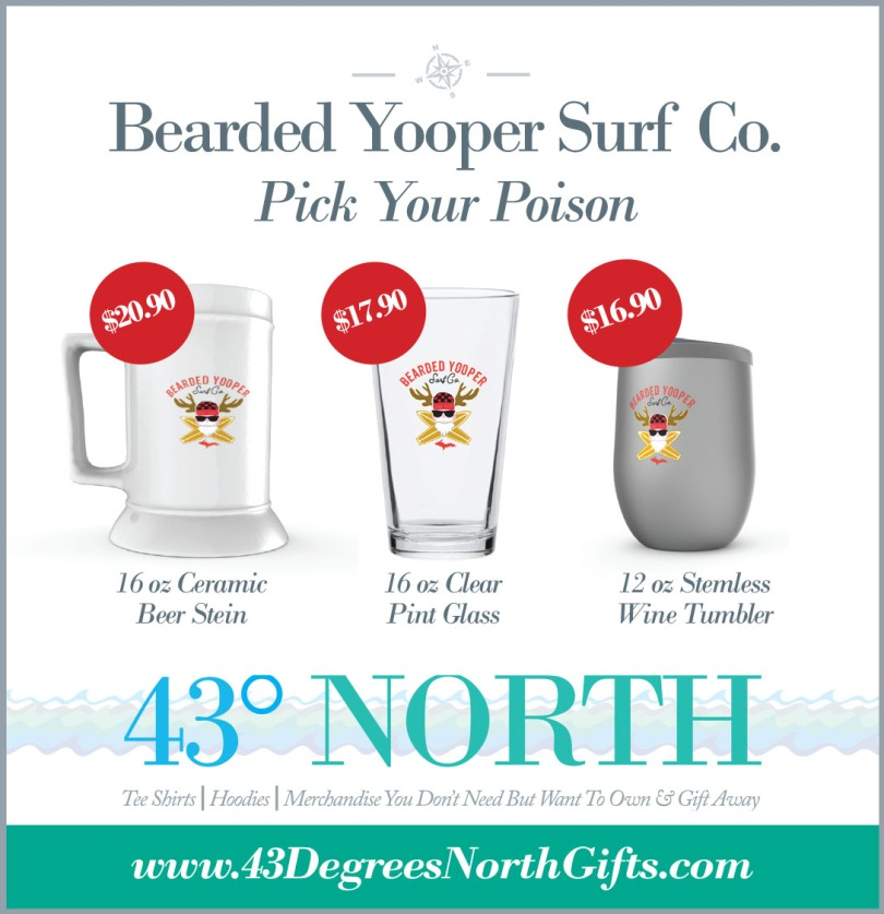 3625 x 375 ad--43 degrees north--bearded yooperalcohol container